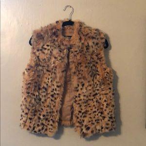 Real rabbit fur vest brown/tan